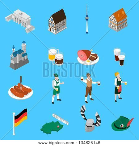 German culture traditions and national cuisine dishes for travelers with beer and sausage abstract isolated vector illustration
