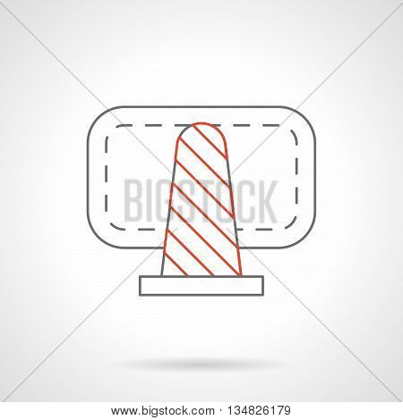 Cone fencing with red stripes. Barriers and warning signs. Equipment for road construction, parking spaces, traffic flows, emergency sections, accident scene and others. Flat line style vector icon.