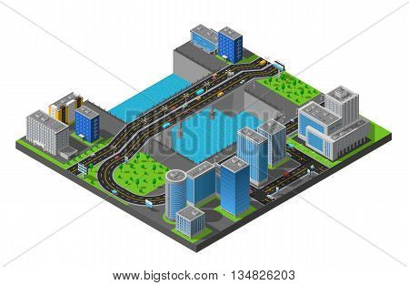 City business center and residential district isometric map with bridge across the river poster abstract vector illustration