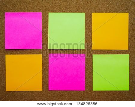Six post note attach on wooden board