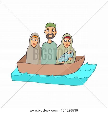 Refugees in a boat icon in cartoon style on a white background