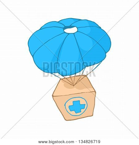 Medicine aid in a box with a parachute icon in cartoon style on a white background