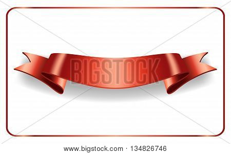 Red ribbon. Satin bow blank banner. Design label scroll blank element isolated on white background. Empty template for greeting placard or advertising. Symbol for decoration. Vector illustration.