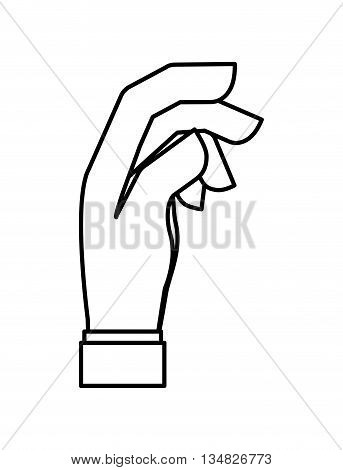 Hand represented by specific gesture icon over flat and isolated background