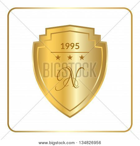 Gold shield emblem icon. Golden sign silhouette isolated on white background. Symbol of trophy heraldic award royal security protect. Heraldic label. Logo design decoration. Vector illustration