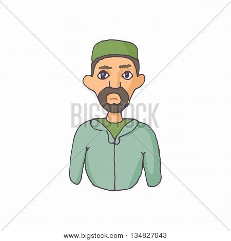 Muslim man icon in cartoon style on a white background