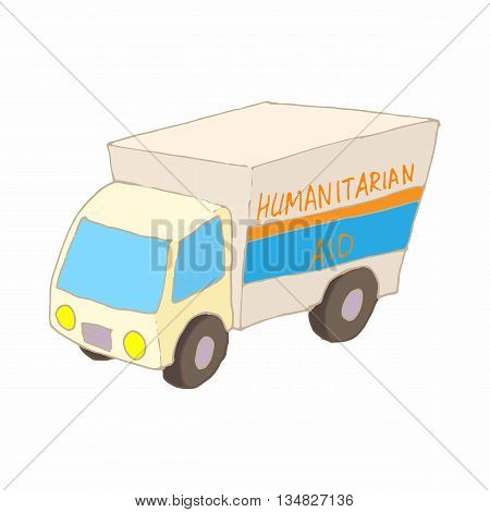 Humanitarian aid car icon in cartoon style on a white background