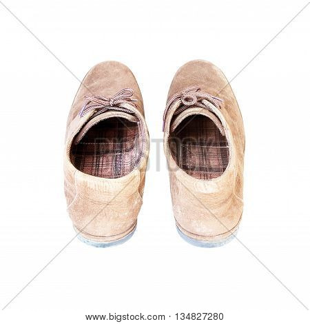 Old Mens Brown Suede Shoe on a White Background