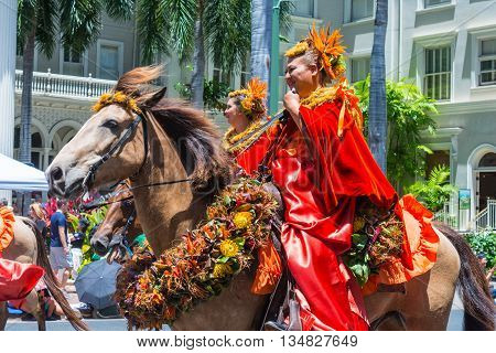HONOLULU, HAWAII  June 11  The 100th Annual King Kamehameha Day Parade on Saturday June 11, 2016  during the final stretch along the famed Kalakaua Avenue in Waikiki Beach.