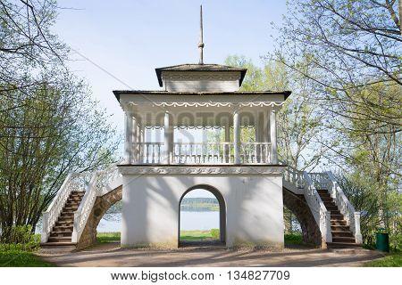 PSKOV REGION, RUSSIA - MAY 08, 2016: Pavilion Grotto, sunny day in may. Manor Petrovskoye. Main landmark of the Pushkin Hills