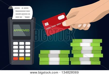 POS terminal with hand and credit card flat vector icon. Business and commerce illustration