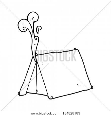 freehand drawn black and white cartoon old smelly tent
