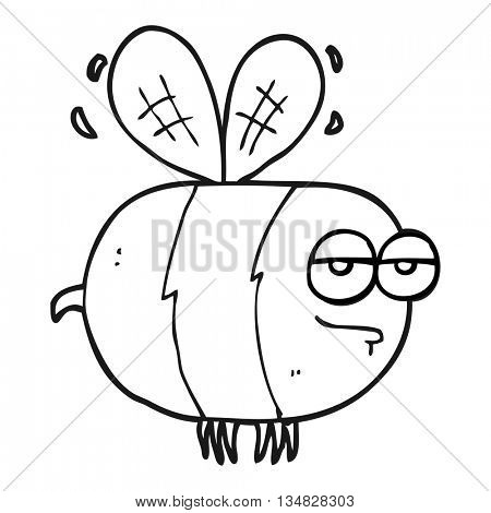 freehand drawn black and white cartoon unhappy bee