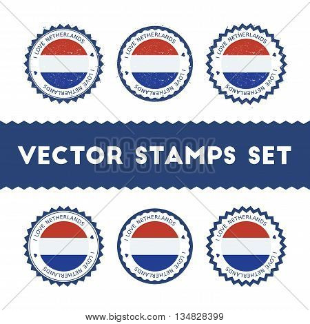 I Love Netherlands Vector Stamps Set. Retro Patriotic Country Flag Badges. National Flags Vintage Ro