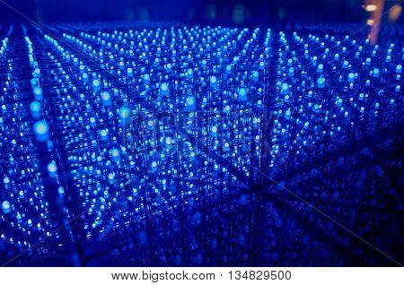 LED background with dozens transparent blue LEDs