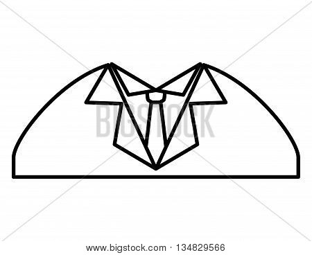 Cloth concept represented by male suit and necktie icon over flat and isolated background