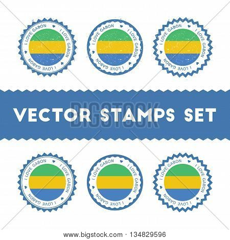I Love Gabon Vector Stamps Set. Retro Patriotic Country Flag Badges. National Flags Vintage Round Si