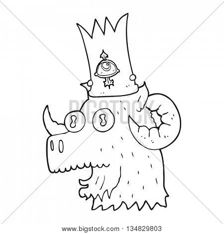 freehand drawn black and white cartoon ram head with magical crown