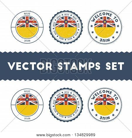 Niuean Flag Rubber Stamps Set. National Flags Grunge Stamps. Country Round Badges Collection.