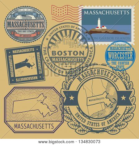 Stamp set with the name and map of Massachusetts, United States, vector illustration