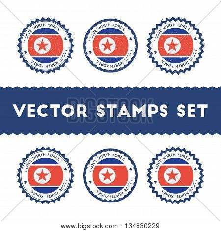 I Love Korea, Democratic People's Republic Of Vector Stamps Set. Retro Patriotic Country Flag Badges