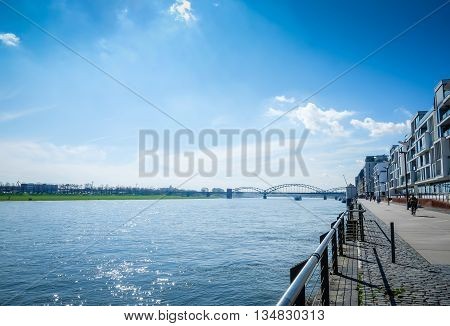COLOGNE, GERMANY - Lanscape, Rhine Embankment in Cologne