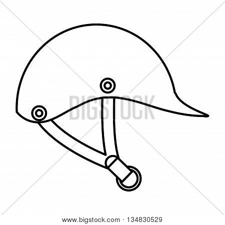 Horse and equine lifestyle  concept represented by helmet icon over flat and isolated background