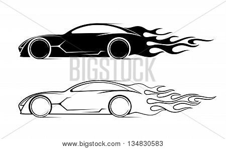 On the image is presented dynamic silhouette of the car, icon automotive topics