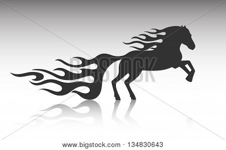 On the image is presented running horse art design