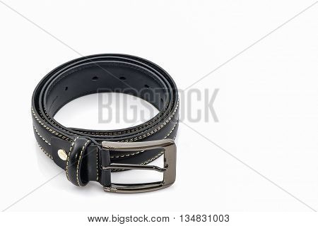 Black leather belt for men on white background.