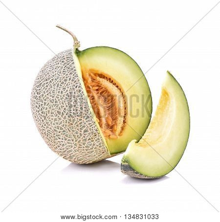 Ripe cantaloupe melon isolate on a white background
