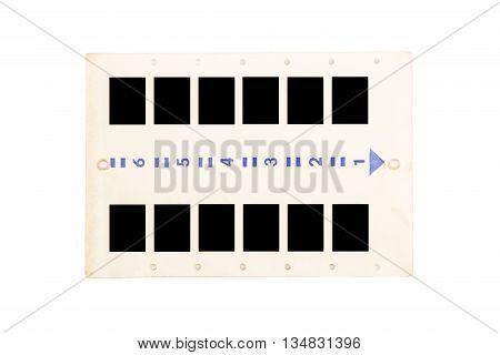 Vintage photo slides panel isolated on white