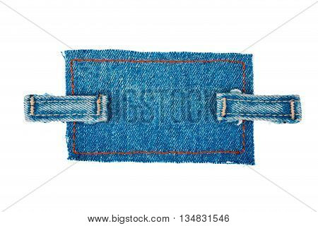 Frame made of denim with two straps of jeans isolated white background