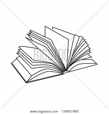 Book with multiple sheets icon in outline style isolated on white background. Reading symbol