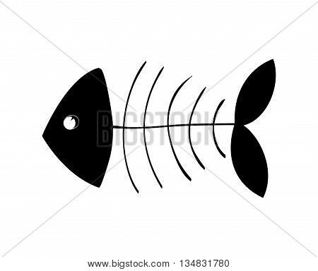 Fish concept represented by silhouette of bone icon over flat and isolated background