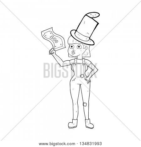freehand drawn black and white cartoon woman holding on to money