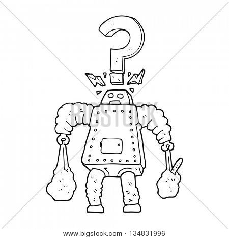 freehand drawn black and white cartoon confused robot carrying shopping