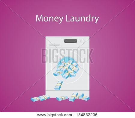 money laundry with money cash in laundry machine vector graphic illustration