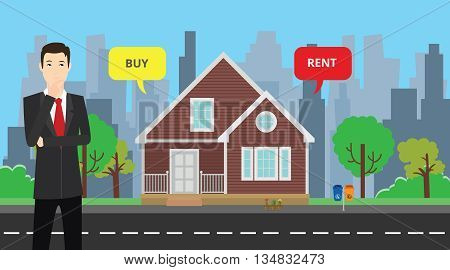 a businessman choose between buy or rent to buy his house vector graphic illustration