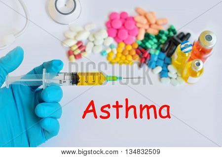 Syringe with drugs for asthma disease treatment