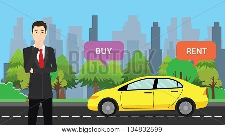 a businessman choose between buy or rent to buy his car vector graphic illustration