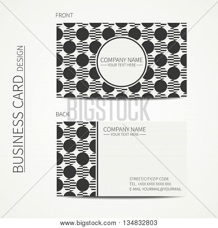 Vector simple business card design. Template. Black and white. Business card for corporate business and personal use. Calling card. Geometric monochrome pattern. Striped circle.