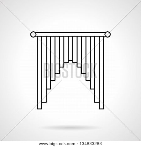 Elegant interior curtains cascade shape. Decoration for windows, doorway. Fashion textile for home. Flat line style vector icon.