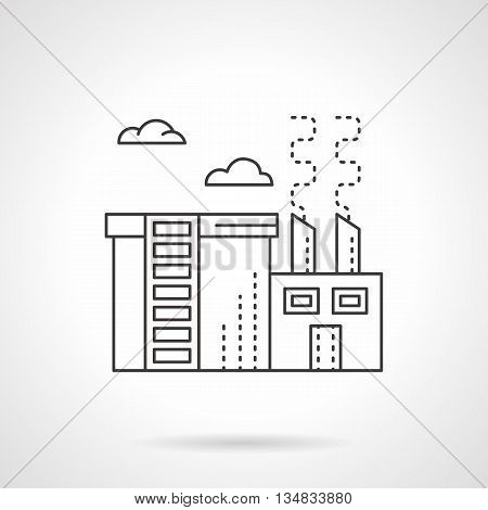 Chemical plant or factory with store department. Chemical processing industry. Environment pollution problems. Flat line style vector icon.