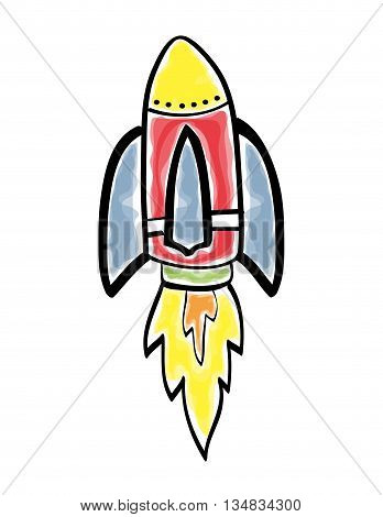 Spaceship concept represented by rocket and flame icon over flat and isolated background