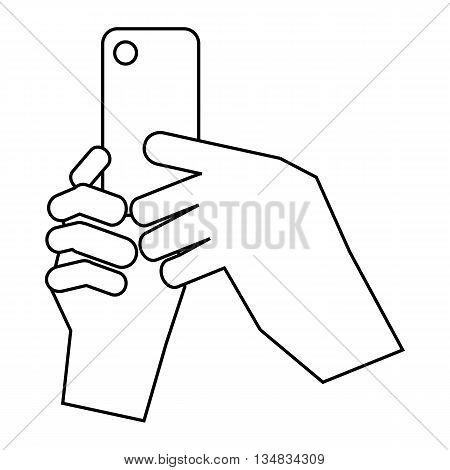 Hands holding cell phone icon in outline style isolated on white background. Communication symbol
