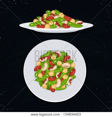 Fresh salad from beans french beans and chickpea on blackboard. Salad top view and salad side view. Healthy food concept. Salad on plate vector illustration for menu design.