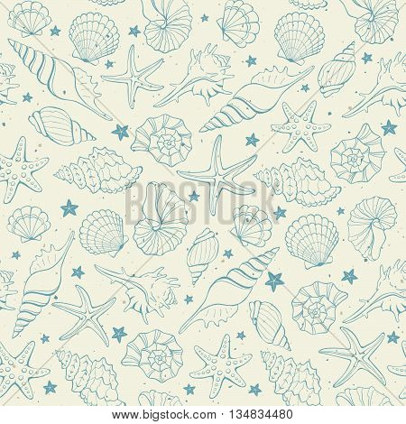 Seamless background from hand drawn sea shells and stars. Marine illustration of shellfish.