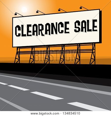 Roadside billboard business concept with text Clearance Sale, vector illustration