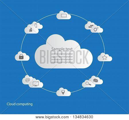 cloud  computing for web design blue background